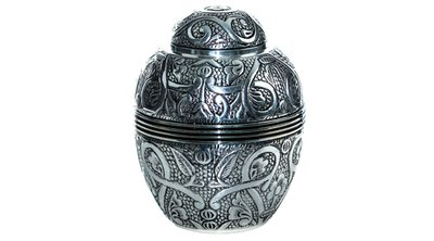 Silver Embossed Extra Small Urn